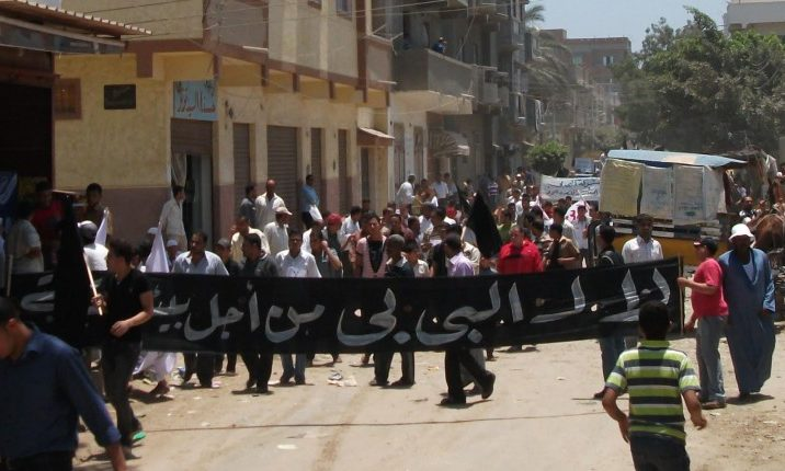 Crushing protest in Idku, Egypt